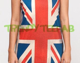 Union Jack Flag Tops UK British Tank Top Women Shirt Tee Black T-Shirt Unisex Singlet Vest Size S , M , L