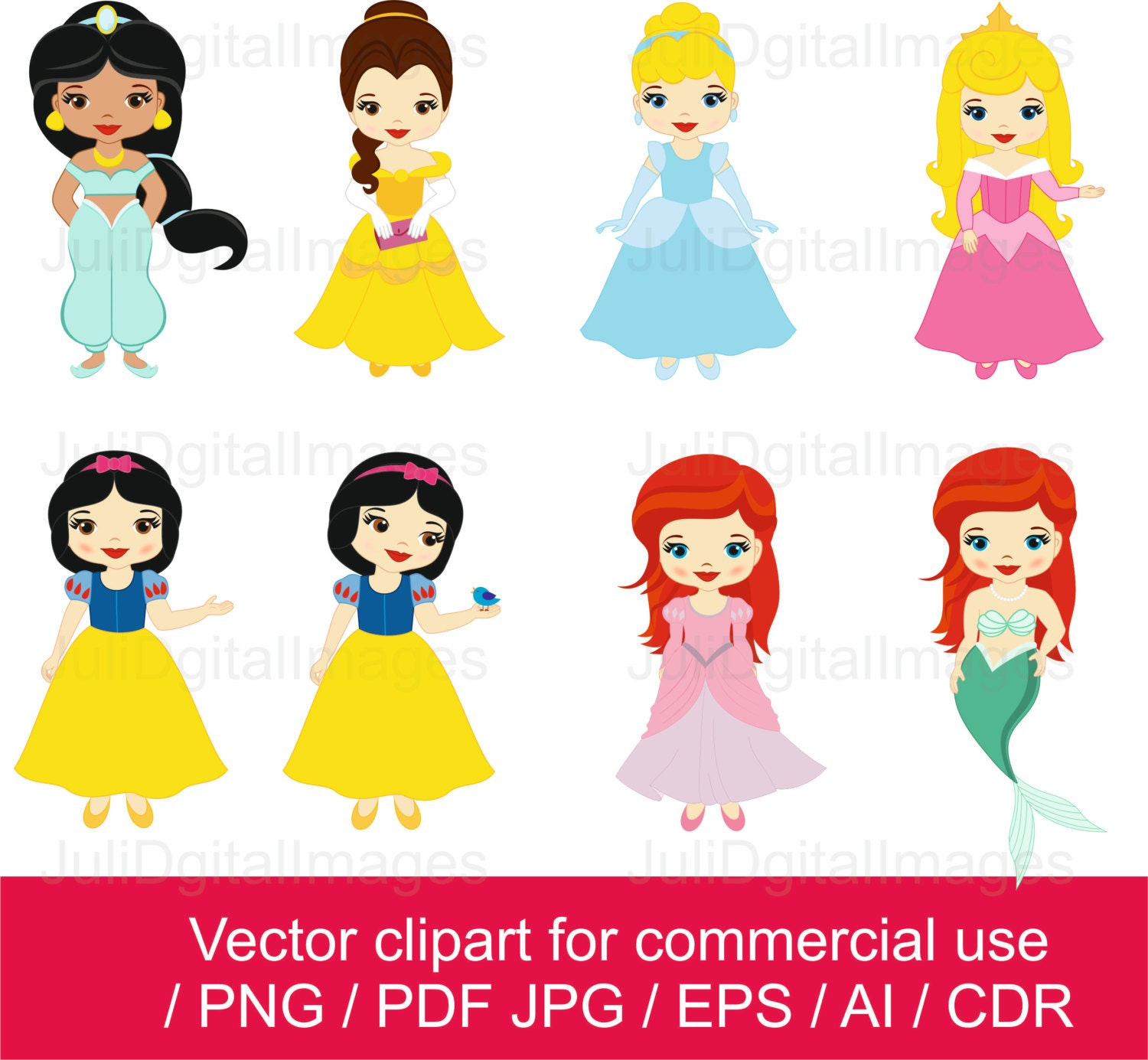 Princesses clipart little princess clipart princess vector - Petite princesse disney ...