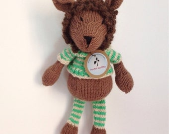 Made to order - soft pluch - baby toy - handknitted - new born gift - Sporty the lion