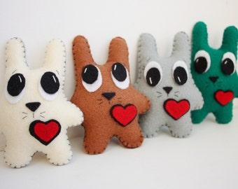 Handmade Felt Bunny with Heart