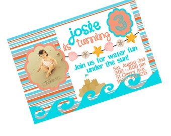Beach Theme Birthday Invitation