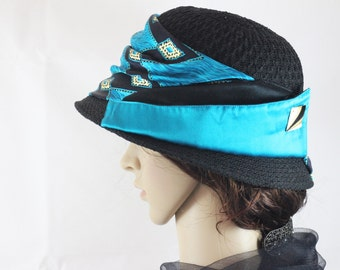 Downton Abbey Hat Flapper Hat 1920s  Cloche Hat Formal Hat Gatsby Style Hat Couture Designer Hat Gala Event Chapeau Turquoise Elegant Hat