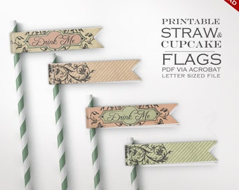 Alice in Wonderland Straw Flags - Printable DIY Drink Me Eat Me Tea Party Paper Flags - Drink Flags Cupcake Flags Desert Flags Party Favors
