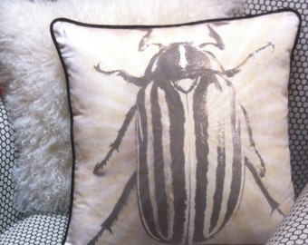 "June Bug Pillow, 18""x18', Black and Tan, 100% Cotton"