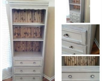 SOLD - Custom Painted Grey Distressed Bookshelf/Dresser/Hutch