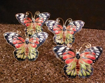 Butterfly Cloisonné Napkin Rings