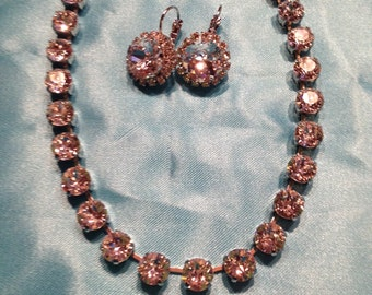 Swarovski clear crystal necklace with matching earrings