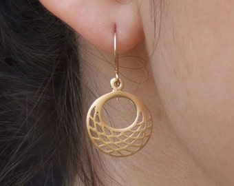 Small Round Dangle Earrings, 14K Yellow Gold Plated Earrings, Geometric Earrings