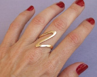 Big Wave Ring, 14K Gold Plated Ring
