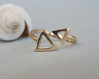 Two Small Triangles Ring, 14K Gold Plated Ring, Adjustable Ring