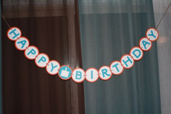 Handmade Orange and Turquoise Happy Birthday Banner and Cupcake Picks Set