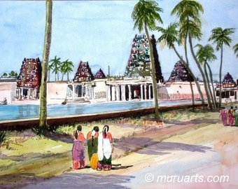 Temple Visit, Tamil Nadu, India Watercolor painting, 35cm x 50cm