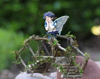 Miniature Bridge, Fairy Garden, Fairy Rickety Bridge Handcrafted by Olive (Fairy Sold Separately)