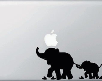 "Elephants Vinyl Decal Sticker Skin for Apple MacBook Pro Macbkook Air Mac 13"" 15"" 17""  Air or iPad + iPad Mini"