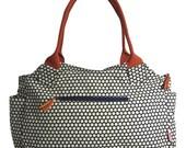 Fair Trade Large Day Beach Nappy Diaper Baby Bag - Navy Orange Spotty Polka dot Print