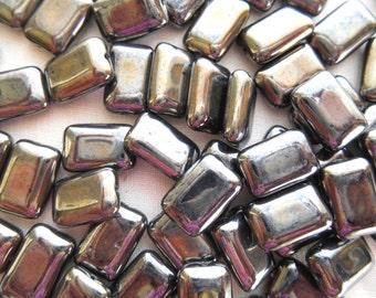 25 rectangular Hematite metallic Czech glass chicklet beads, 14mm x 8mm, C6325