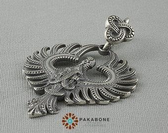 Phoenix Solar Fire Bird Amulet Pendant Sterling Silver 925 art. 129