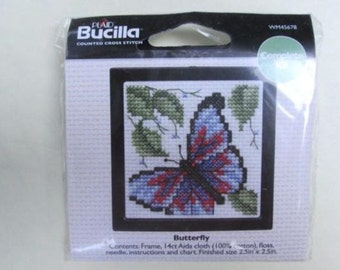 """Bucilla Counted """"Buterfly"""" Counted Cross Stitch 2.5"""" x 2.5"""" Frame Kit"""