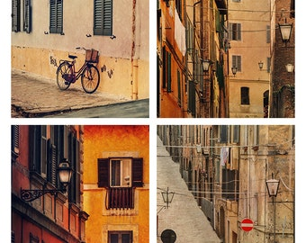Digital photography download. Tuscany photography set of 4 square pictures.