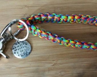 Paracord Key Wristlet Fob Keychain Lanyard Personalized Stamped Charm- Custom made with your Color and Size! Knotability Diabetes Support