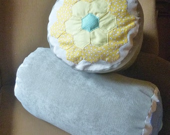 Appliqued Vintage Flower Lumbar/Cylinder Pillow - yellow