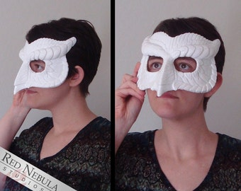 Stylized Owl Mask, Blank Masquerade Mask, Ready to Paint, Horned Owl Masque, Resin Half Mask, DIY, Do It Yourself, Blank Mask, Owl Face Mask