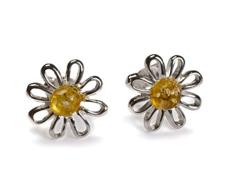 Henryka Amber & Silver Open Posy Petal Stud Earrings