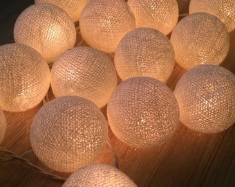 20 x Cream cotton ball string light for decor ,bedroom, wedding, party, garden,lamp,lantern