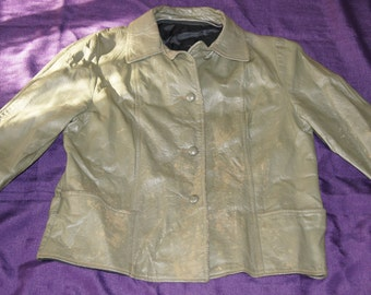 VIntage 1970's - Olive Green Leather Jacket