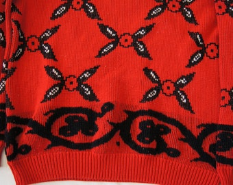 Vintage 1980's - Bright Red and Black Flowered Sweater Comfy Women's Large