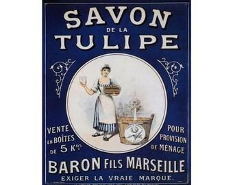 Savon De la Tulipe - Enamel Metal TIN SIGN Wall Plaque