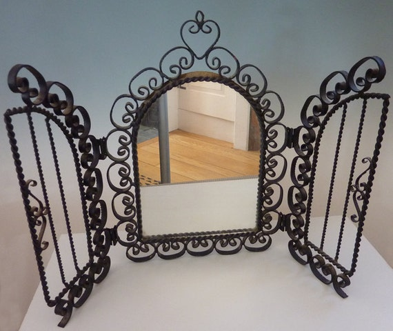 Spanish vintage wrought iron framed mirror for Wrought iron mirror