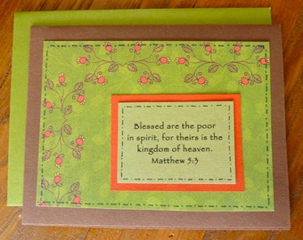 CLEARANCE: Blessed are the poor, Scripture Greeting Card, Bible Get Well Sympathy or Blessing Card, Compassion, Paper Handmade Greeting Card