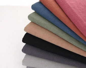 "Solid Cotton Linen Fabric, Vintage 14 colors, Prewashed Fabric, Clothes Cushion Fabric, 55"" wide - 1/2 yard"