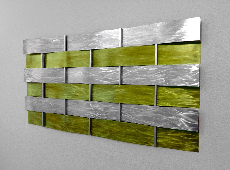 Modern abstract metal wall art sculpture by for Green wall art