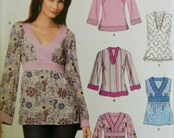 Size 10-22 Bell Sleeve or Sleeveless Top Shirt Empire Waist WomensSewing Pattern