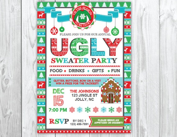 Ugly Sweater Christmas Party Invitation | Tacky Christmas Party Instant Download