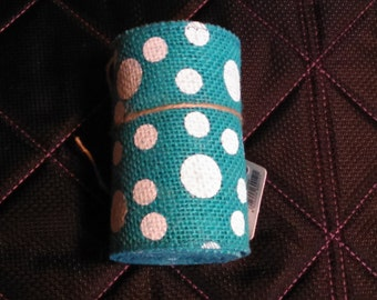 """Aquamarine polka dot burlap ribbon - 4""""x10'"""