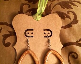 Vintage Wooden Triangle Earrings