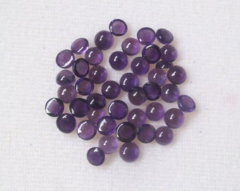 10 pieces 5mm Amethyst Cabochon Round Gemstone, Natural Purple AMETHYST Round Cabochon AAA Quality gemstone...