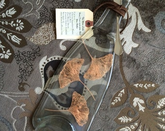Gingko Leaves Painted on Clear Glass Melted Wine Bottle Cheese Tray / Wine Bottle Spoon Rest