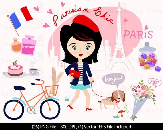 Parisian Chic- Paris clip art, Eiffel Tower Clipart, Clip art Girl, Clip art Macaroon, Bicycle Cipart, Baquette clipart