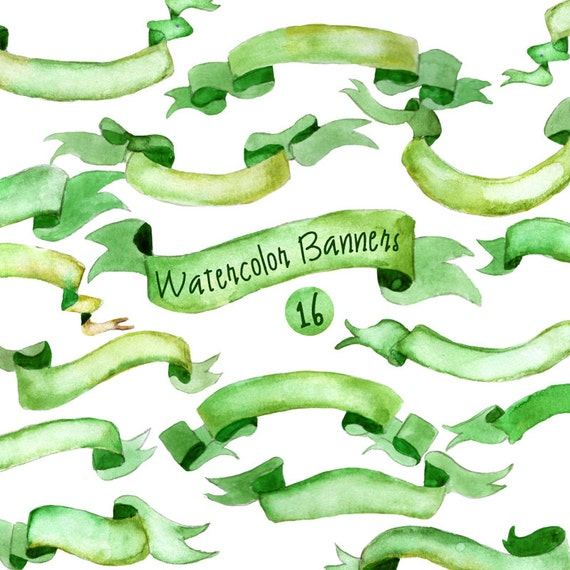 Commercial Use- Watercolor Banners, ribbons Clipart: 16 PNG Digital files. Light mint green. Hand painted, clip art,  diy elements