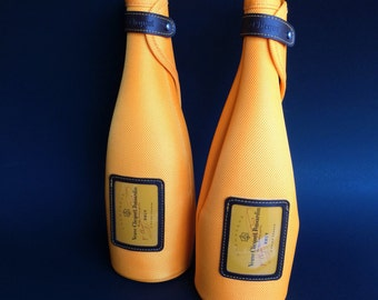 One of two Veuve Clicquot Neoprene Insulated Wine Sleeve Carrying Bag