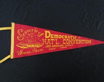 Vintage Felt Pennant - 1960 Democratic National Convention