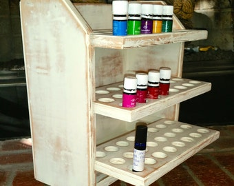Essential oil storage shelf (holds 72 bottles) white