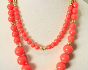 Sale Vintage Statement Necklace Double Strand Chunky Acrylic Orange and Gold Bead Necklace Statement Necklace Vintage Necklace