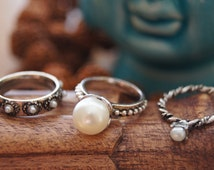 Set of 3 Boho Stackable Rings, Bohemian Ring, Cocktail Ring, Free People Handmade,Pearl Ring,Pearl Jewelry