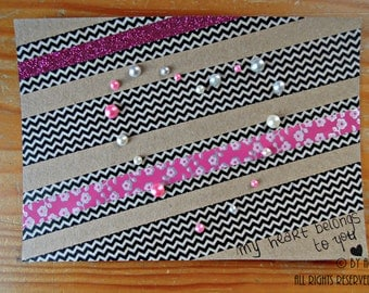 Valentine's Card - Pearly heart on stripes