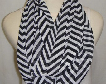 Chevron scarf, black and white infinity scarf, circle scarf, gift idea for her, loop scarf, chiffon scarf, Buy 2 get 1 free